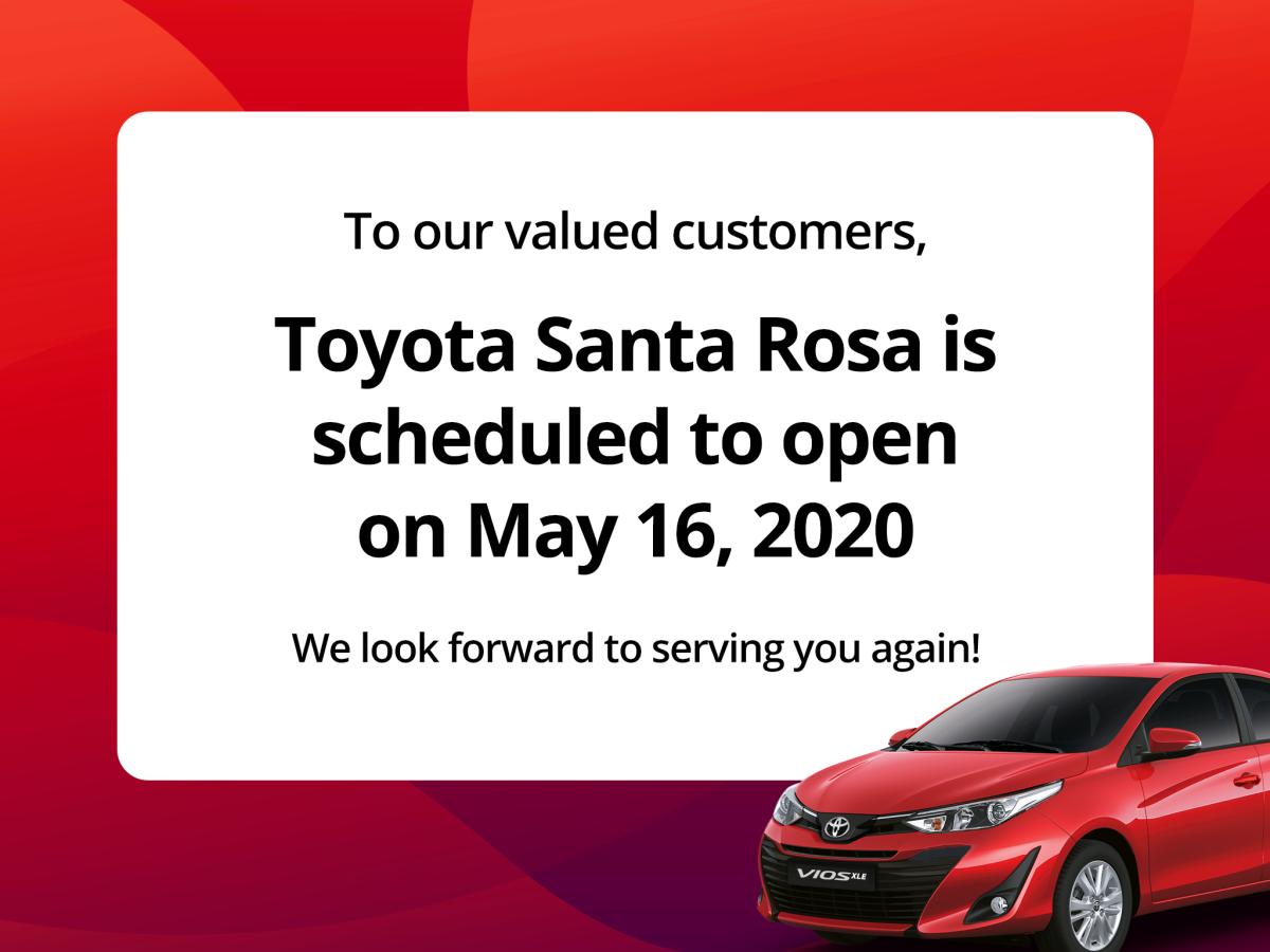 Toyota Santa Rosa Laguna to Re-open on May 16, 2020